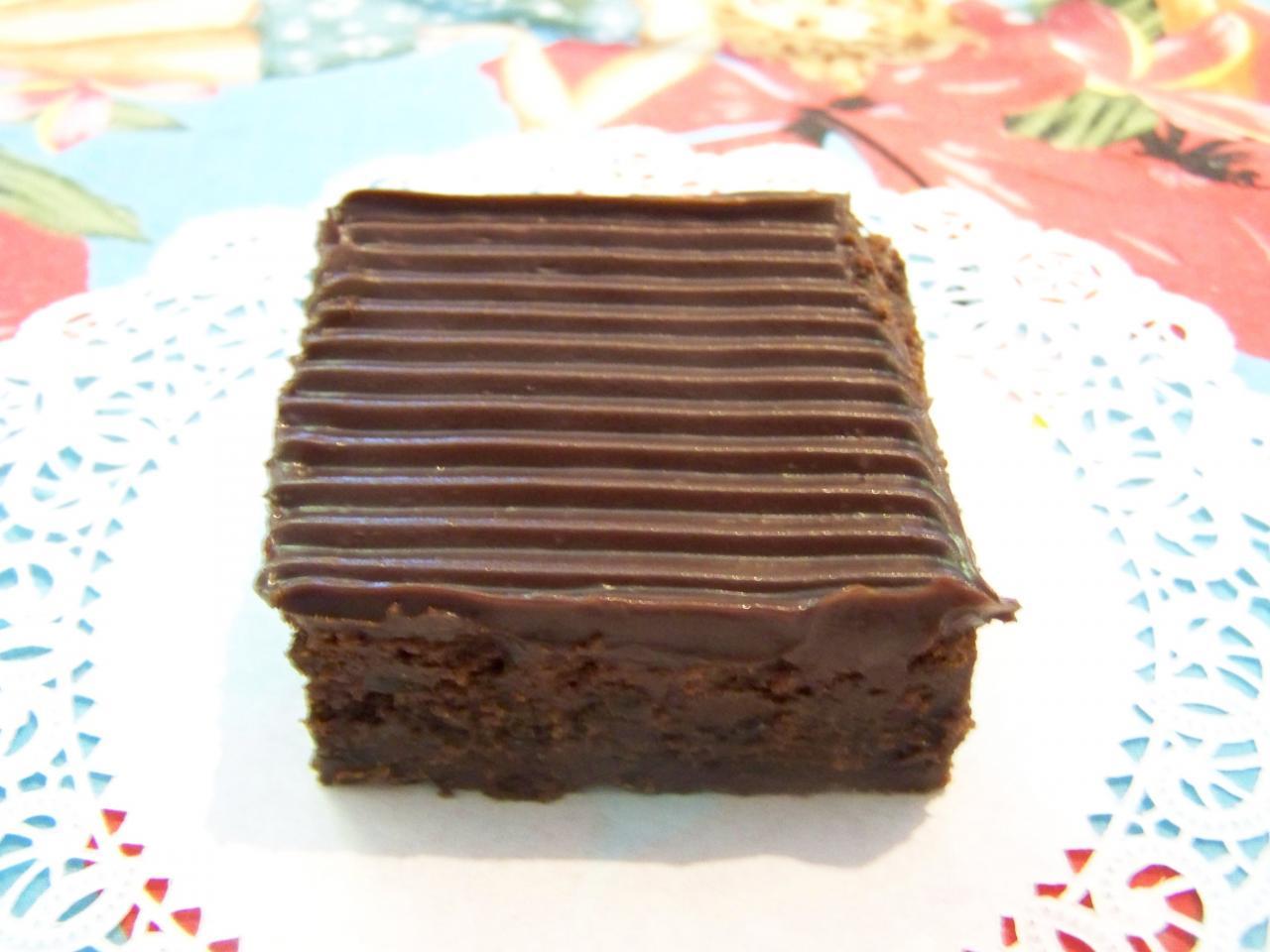 Chocolate fudge brownies loaded with mini chocolate chips with chocolate fudge icing.